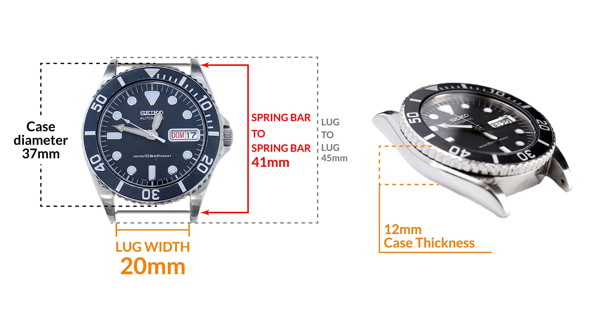 Seiko SKX023 Midsize Diver- Details Seiko watch size, Lug width and case dimensions