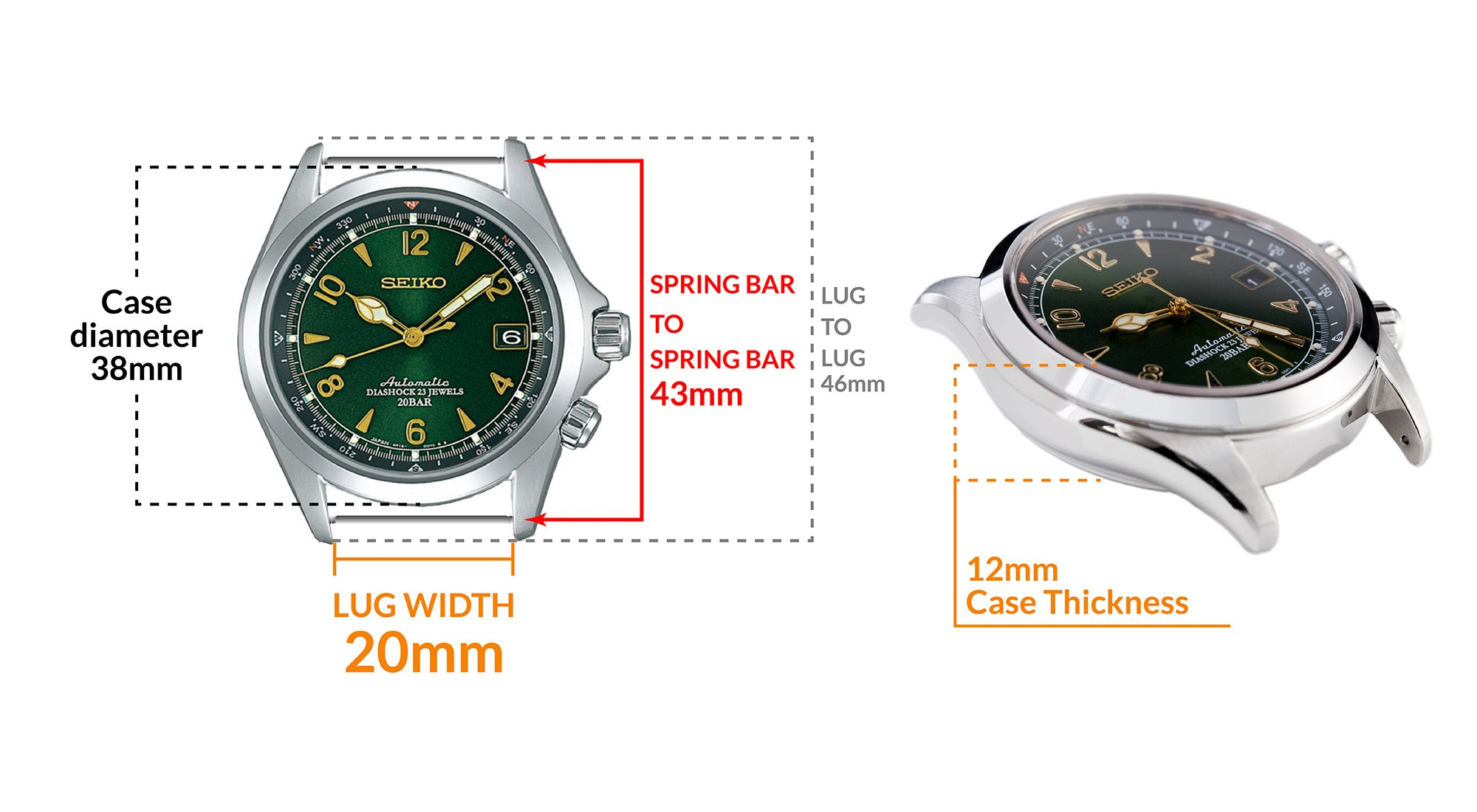 Seiko Alpinist SARB017- Details Seiko watch size, Lug width and case dimensions