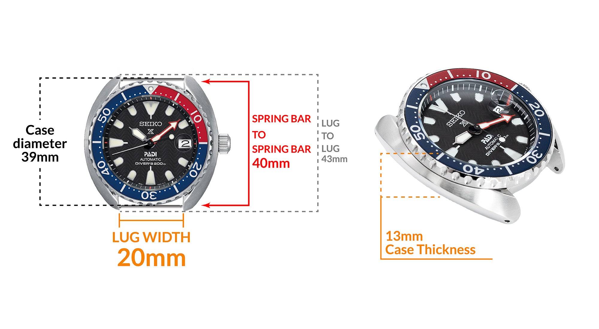 Seiko Mini Turtle Padi SRPC41 - Details Seiko watch size, Lug width and case dimensions