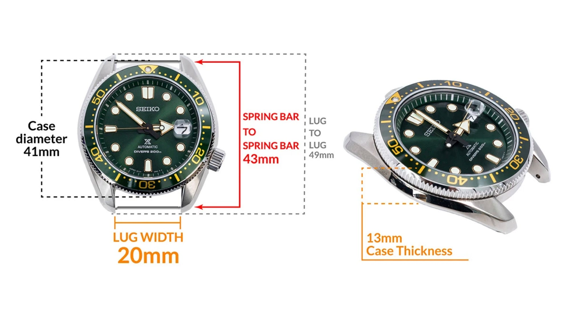Seiko MM200 Green SPB109J- Details Seiko watch size, Lug width and case dimensions