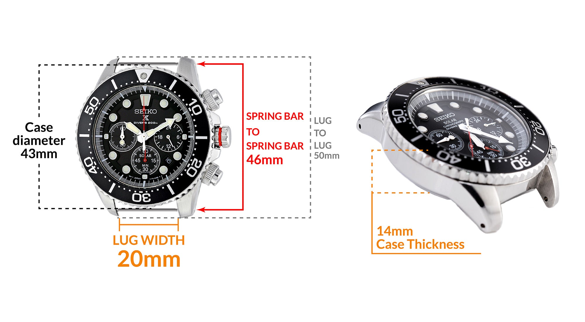Seiko Chrono Solar watch SSC015P1- Details Seiko watch size, Lug width and case dimensions
