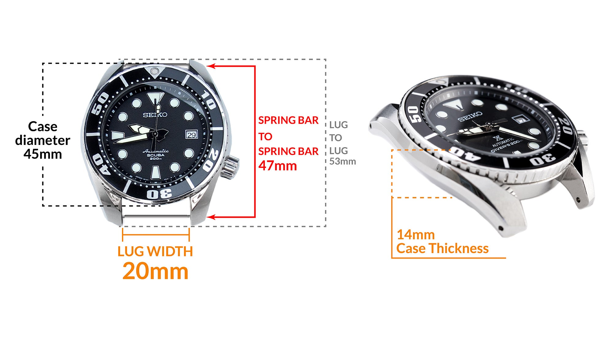 Seiko Prospex SBDC031 Black Sumo- Details Seiko watch size, Lug width and case dimensions