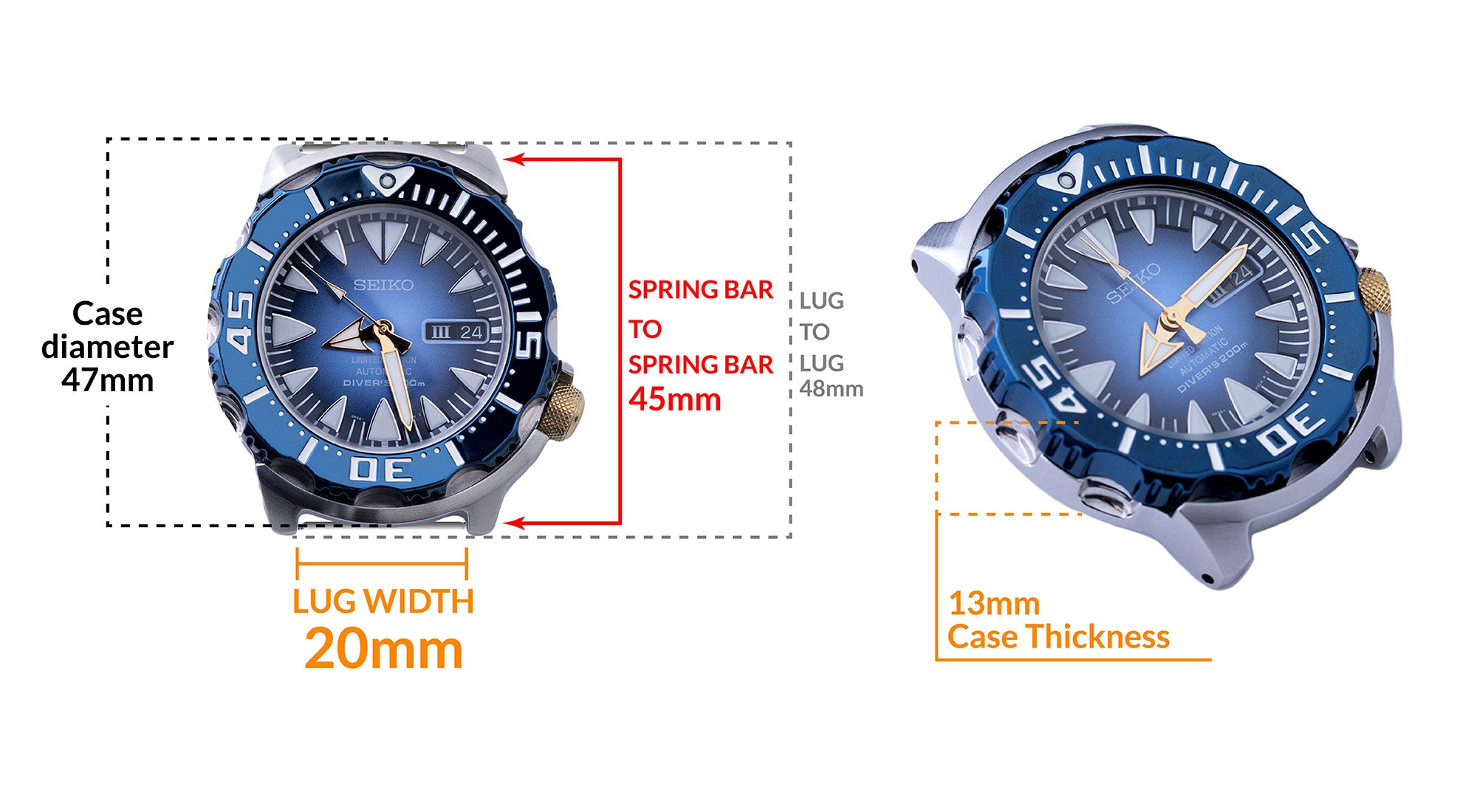 Seiko Monster, Seiko Blue Monster Limited Edition SRP455- Details Seiko watch size, Lug width and case dimensions