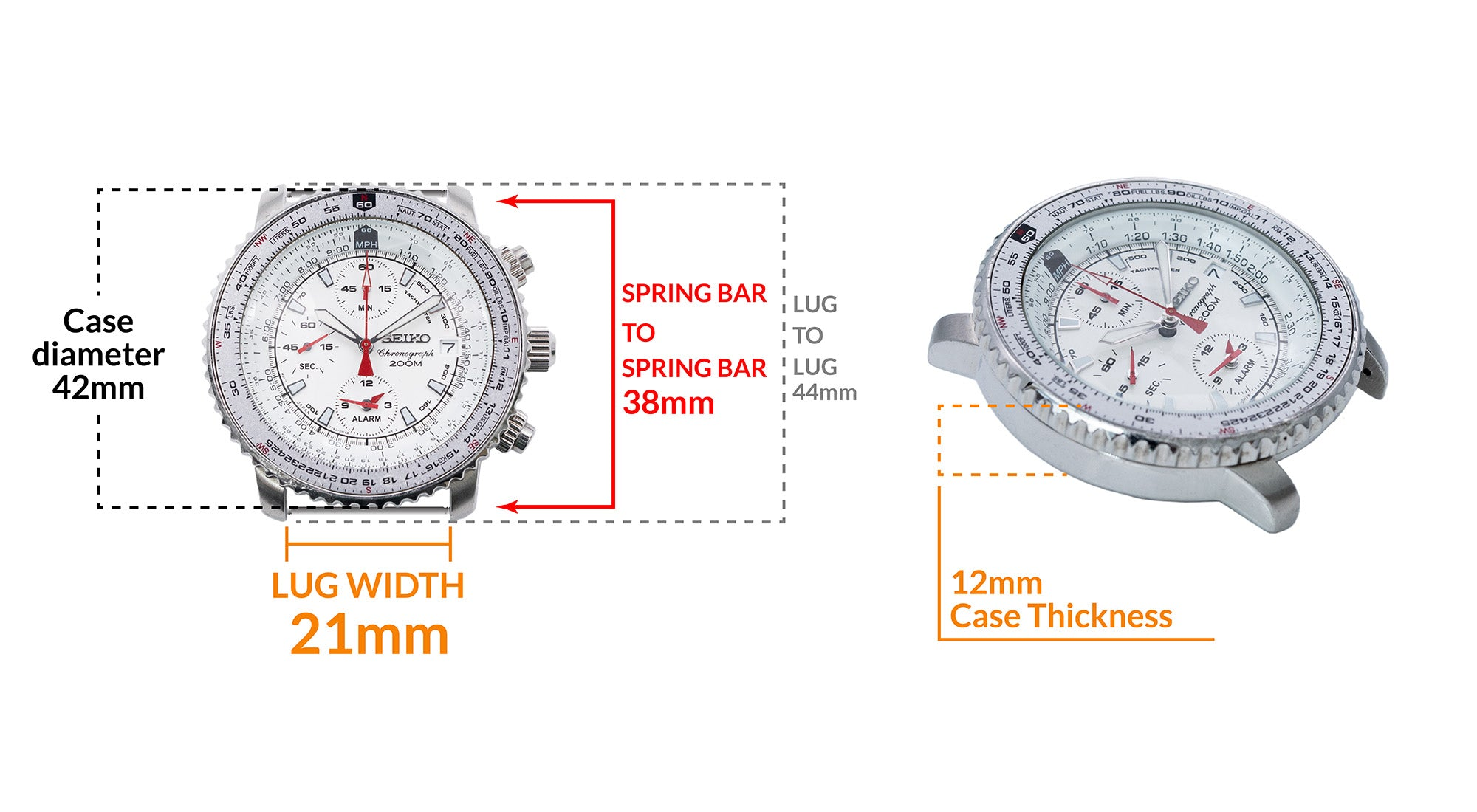 Seiko Pilot Flightmaster- Details watch case measurement and dimensions
