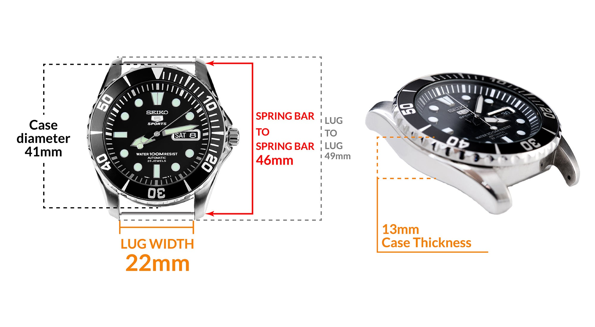 Seiko SNZF17 Sea Urchin Automatic Watch - Details watch case measurement and dimensions
