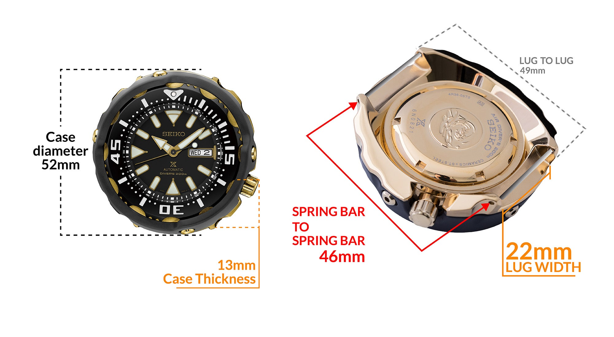 Seiko Baby Tuna Prospex Divers Automatic Men's Watch SRPA82K1 - Details watch case measurement and dimensions