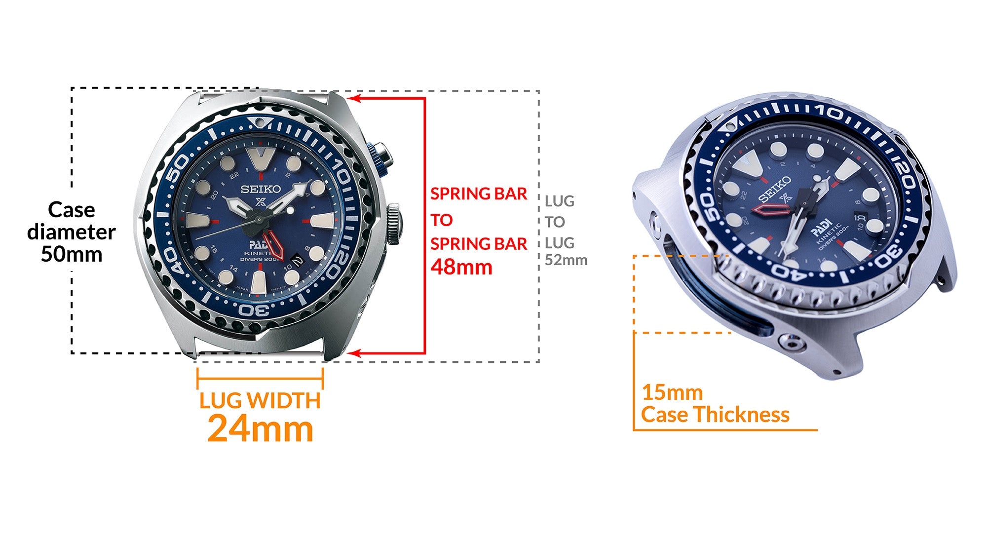Seiko  Kinetic PADI SUN065 Watch - Details watch case measurement and dimensions