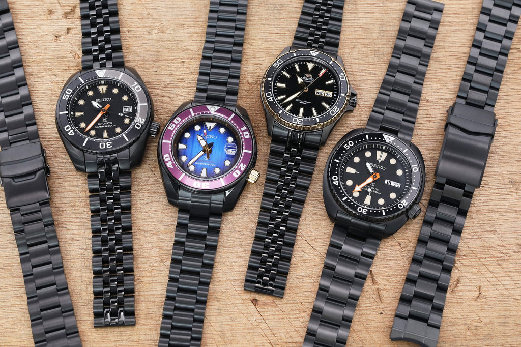 strapcode-watch-bands-DLC-coating-Seiko-Sumo-Turtle-Black-watch-bands