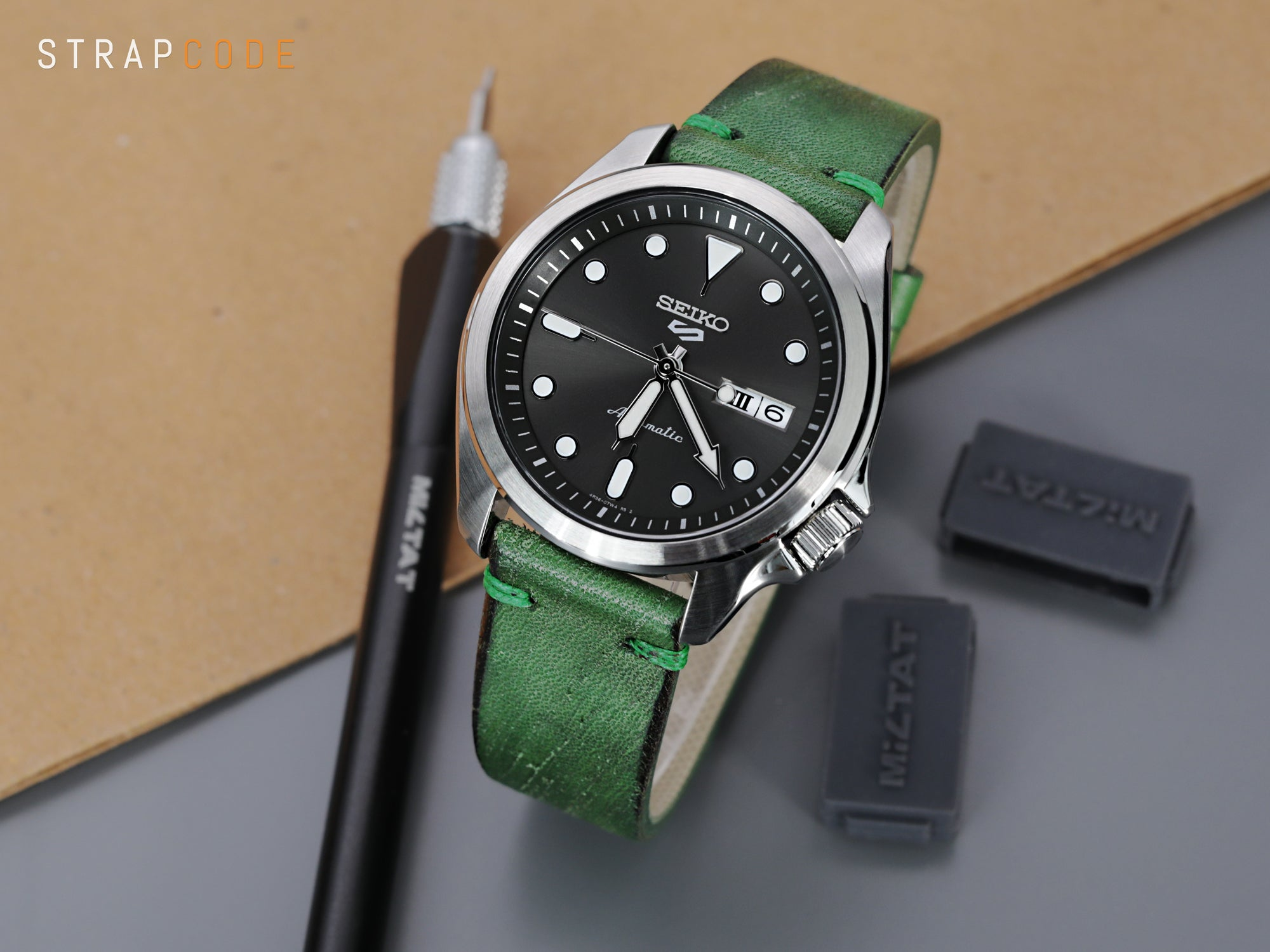 Rebel Green Italian Handmade Leather of Art Watch Band by Strapcode