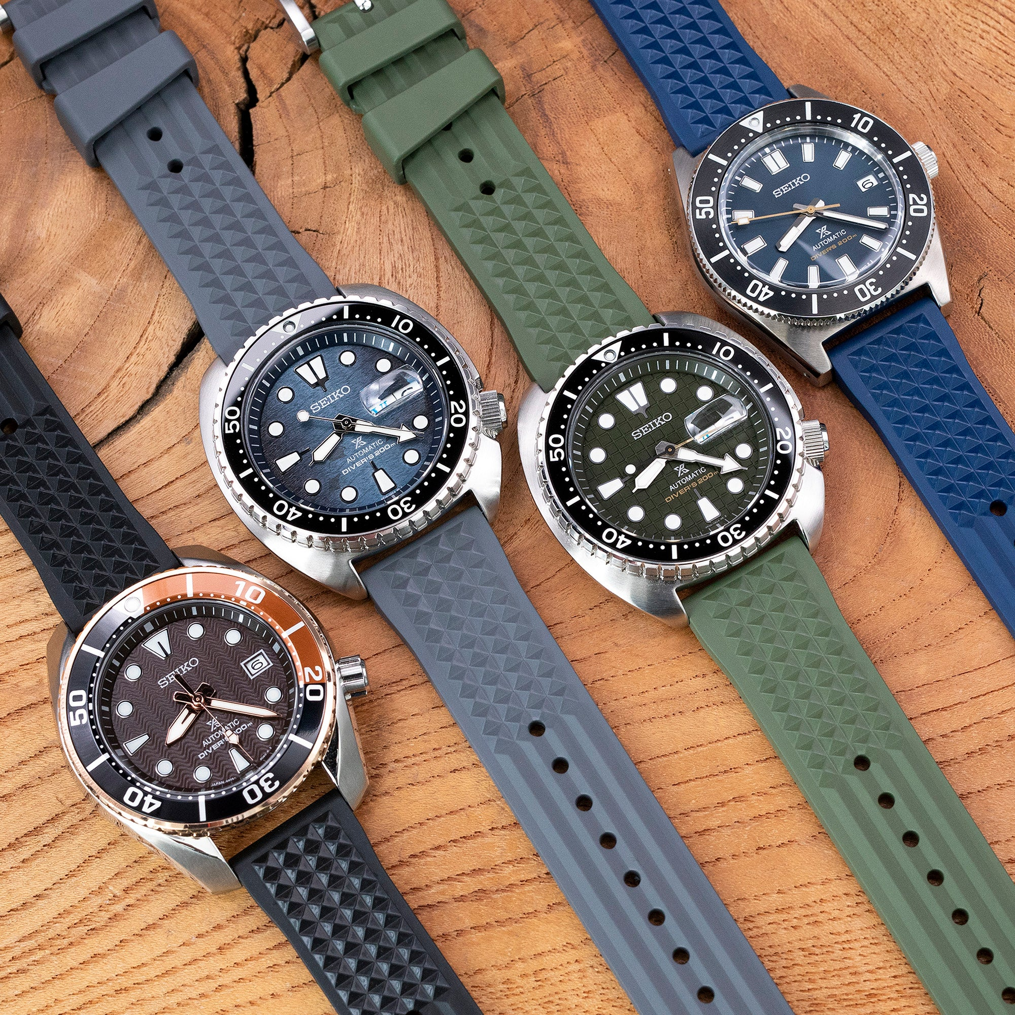 FKM 06 Waffle Rubber watch bands by Strapcode