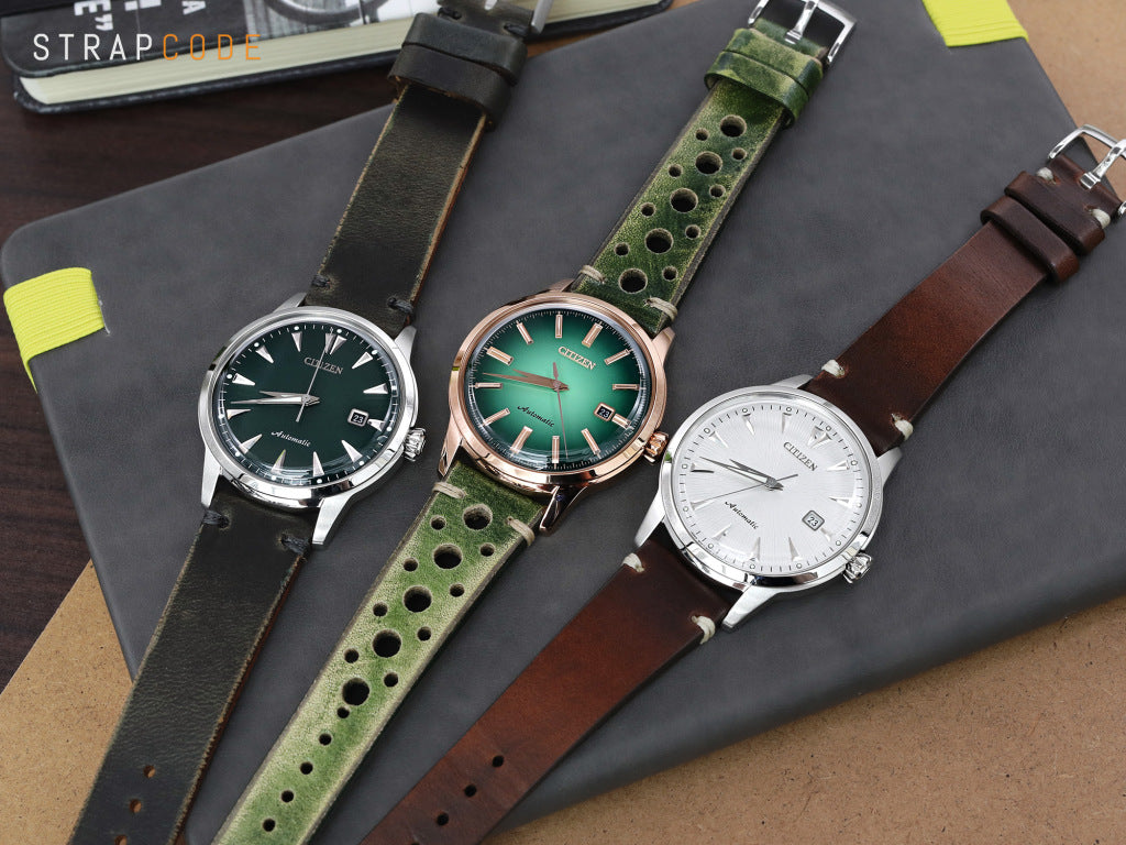 20mm or 22mm MiLTAT Italian Handmade Racer Vintage Green Watch Strap, L. Brown Stitching