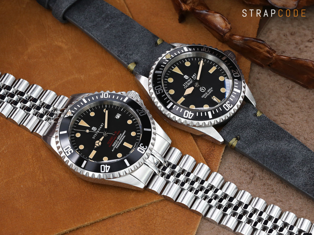 22mm Super-J Louis JUB 316L Stainless Steel Watch Bracelet for Steinhart Sub. Black, Brushed V-Clasp