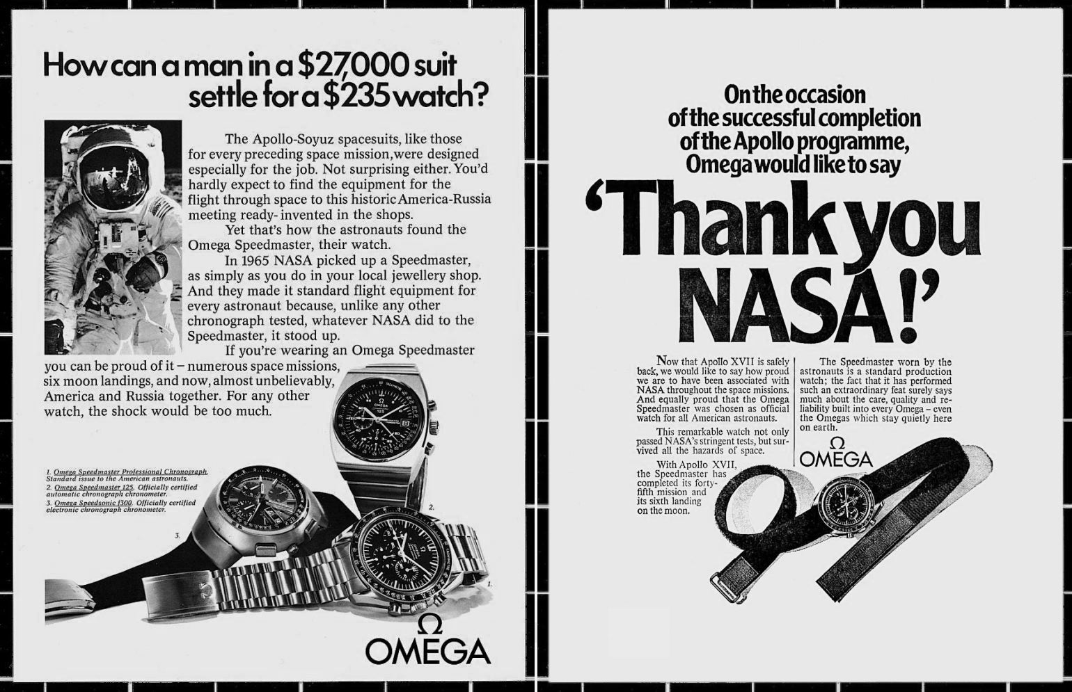 vintage advertisements of Omega Moon watch