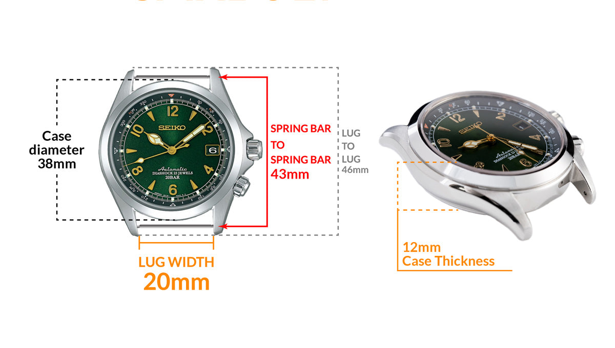 Seiko Alpinist SARB017 Automatic Watch - Details watch case measurement and dimensions