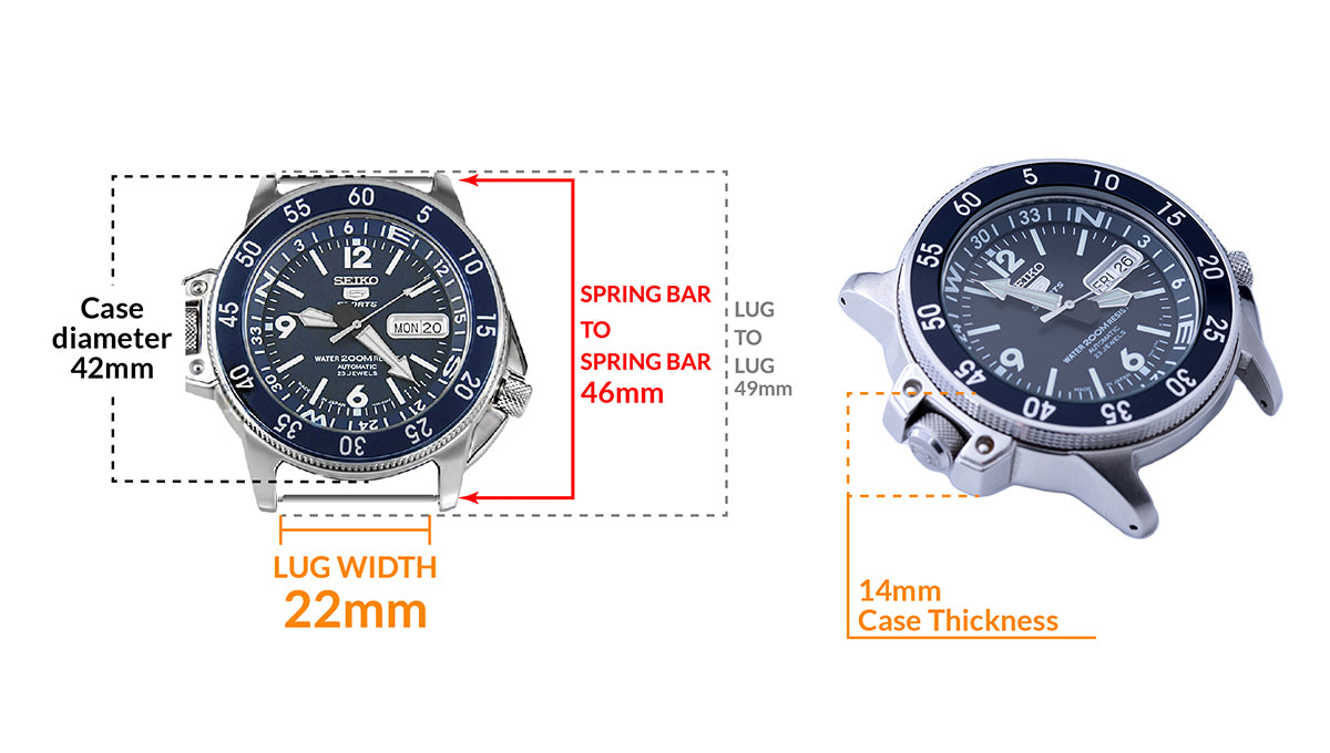 Seiko 5 Sports SKZ209J1 200m Atlas Diver - Details watch case measurement and dimensions