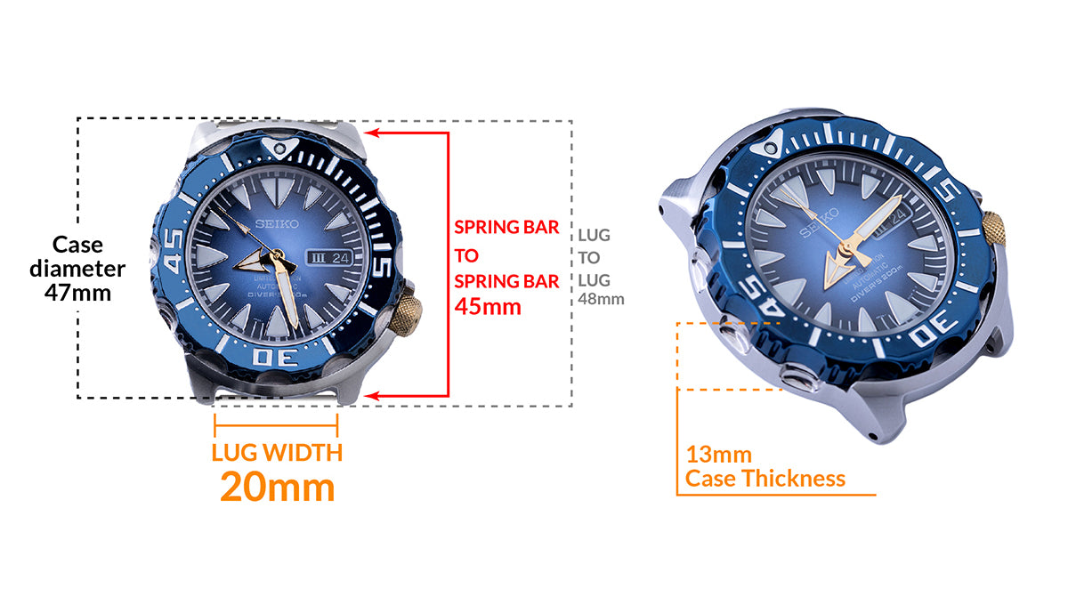 Seiko Blue Monster SRP455 Limited Edition 500 pcs - Details watch case measurement and dimensions