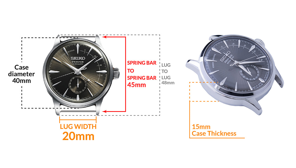 Seiko Presage SSA345 Cocktail Time Automatic Watch - Details watch case measurement and dimensions