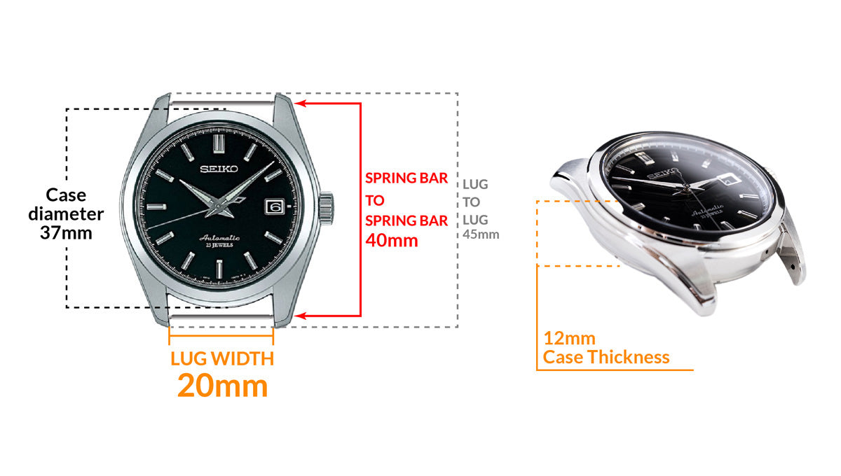 Seiko SARB033 Mechanical Automatic Black Dial Watch - Details watch case measurement and dimensions