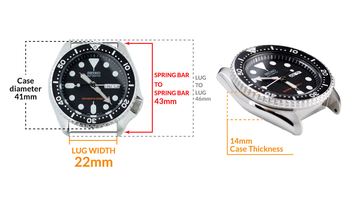 Seiko SKX007 Diver's 200m Automatic Watch - Details watch case measurement and dimensions