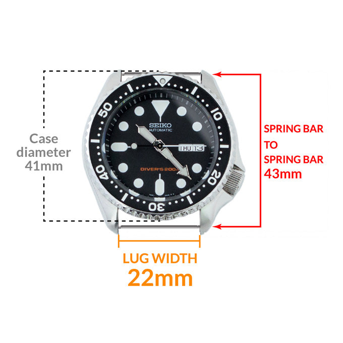 Seiko SKX007 watch case size and dimensions