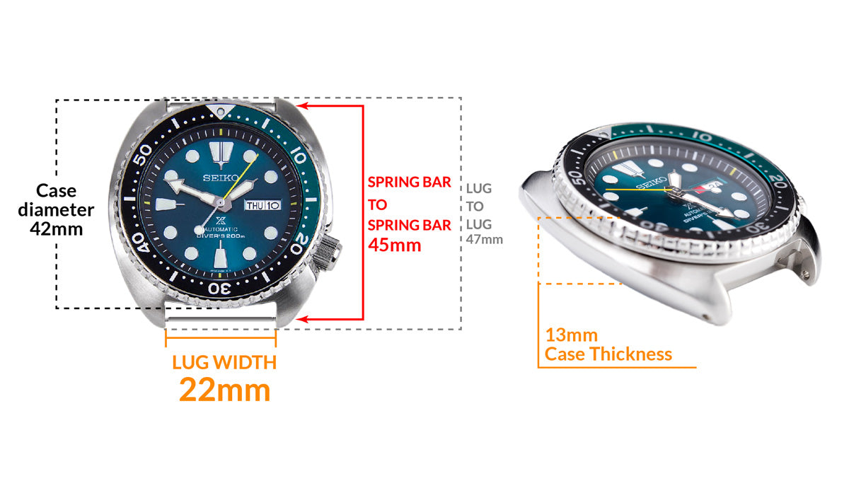 Seiko Green New Turtle Prospex SRPB01K1 Limited Edition 3500 pcs. - Details watch case measurement and dimensions