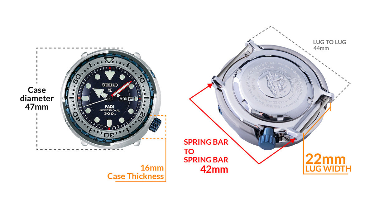 Seiko PADI Marinemaster Tuna Professional 300M Diver Quartz SBBN039 Limited 700 pcs. - Details watch case measurement and dimensions