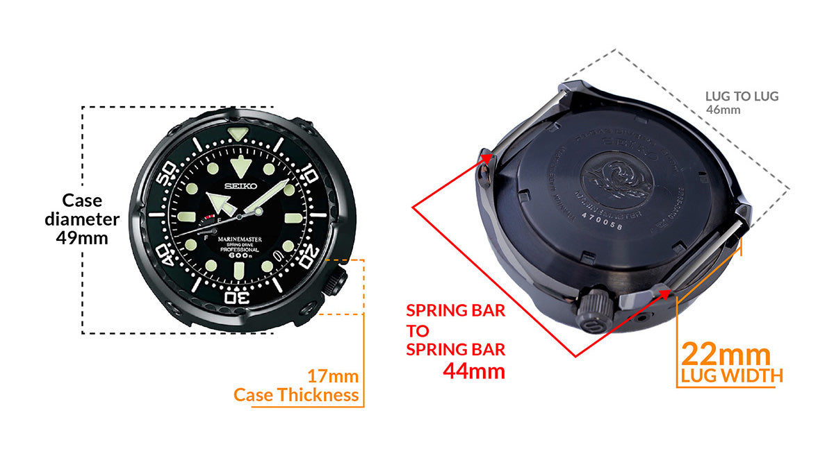 Seiko Prospex Marine Master 600m Spring Drive SBDB009  - Details watch case measurement and dimensions