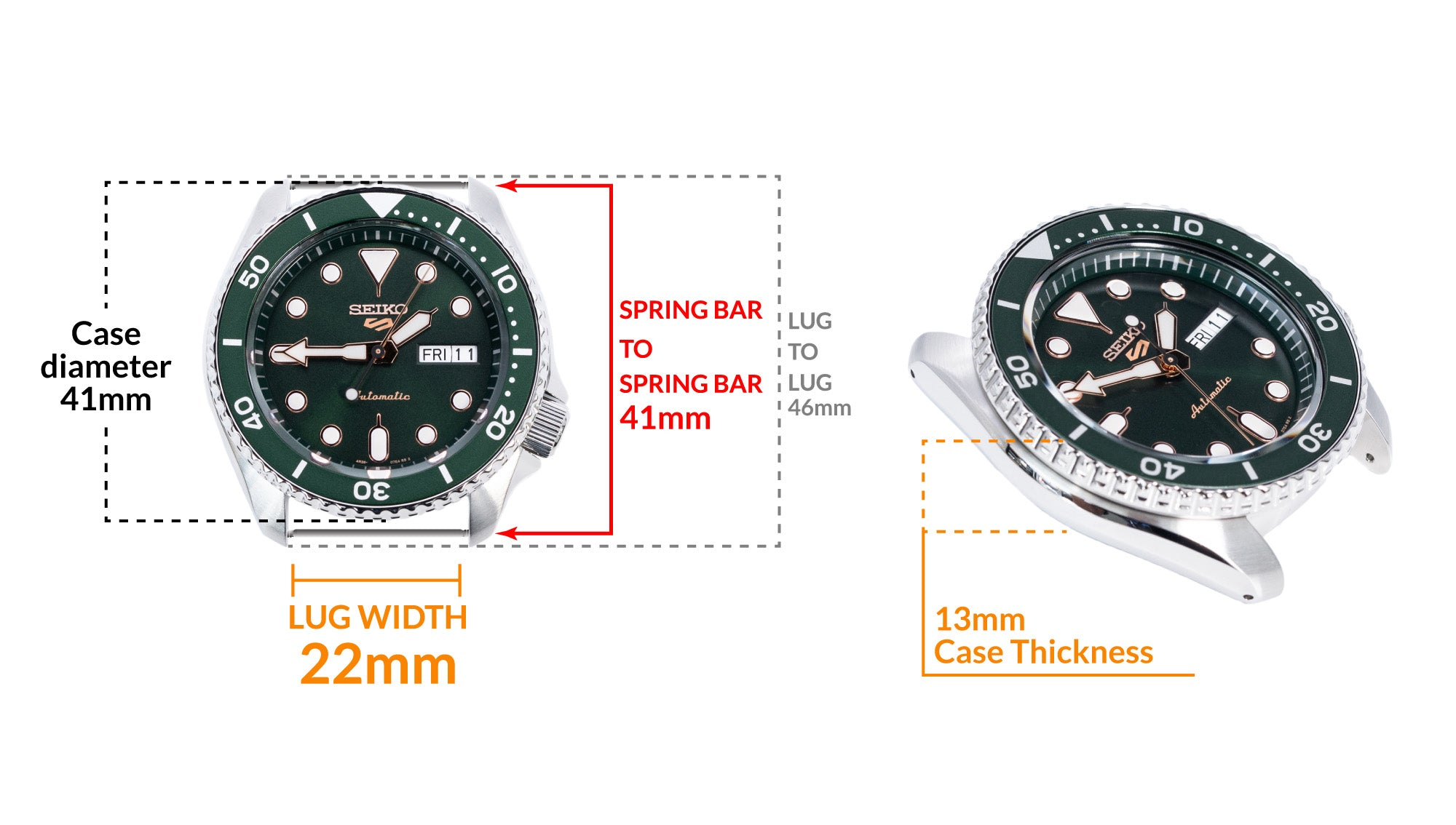Seiko 5 Sports SRPD63K1 Green - Details watch case measurement and dimensions