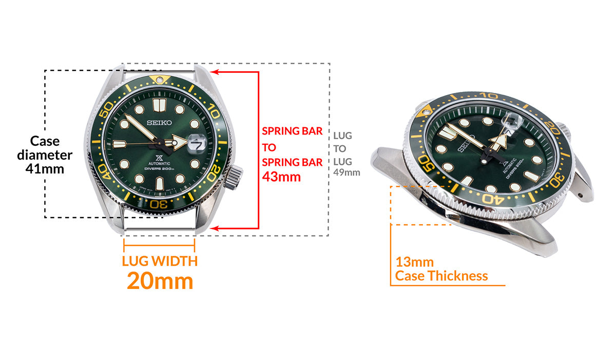 Seiko BabyMM SPB109J - Details watch case measurement and dimensions