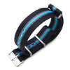 MiLTAT 20mm G10 military watch strap ballistic nylon armband, Brushed - Black, Grey, Blue