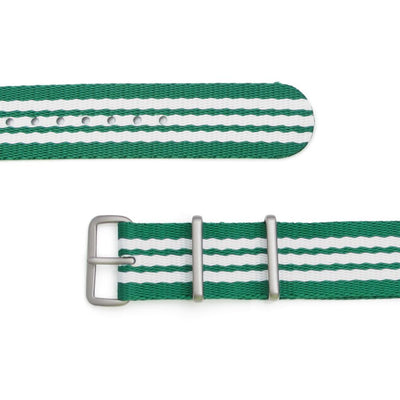 MiLTAT 20mm G10 military watch strap ballistic nylon school look armband - Green & White, Brushed