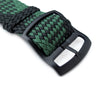 20mm MiLTAT Perlon Watch Strap, Black & Green, PVD Black Ladder Lock Slider Buckle - Strapcode