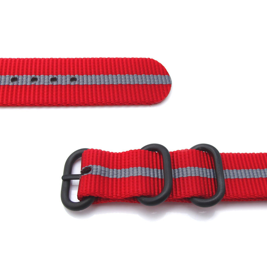 MiLTAT 20mm Zulu military watch strap ballistic nylon armband, PVD Black - Red & Grey