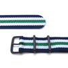 MiLTAT 20mm G10 military watch strap ballistic nylon armband, PVD - Blue, White & Green