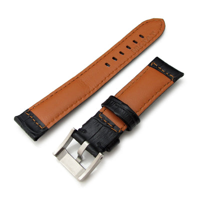 20mm, 22mm, 23mm, 24mm CrocoCalf (Croco Grain) Matte Black Watch Strap with Black St. - Strapcode