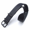 20mm MiLTAT Senno G10 Leather Watch Strap Black, PVD Black - Strapcode