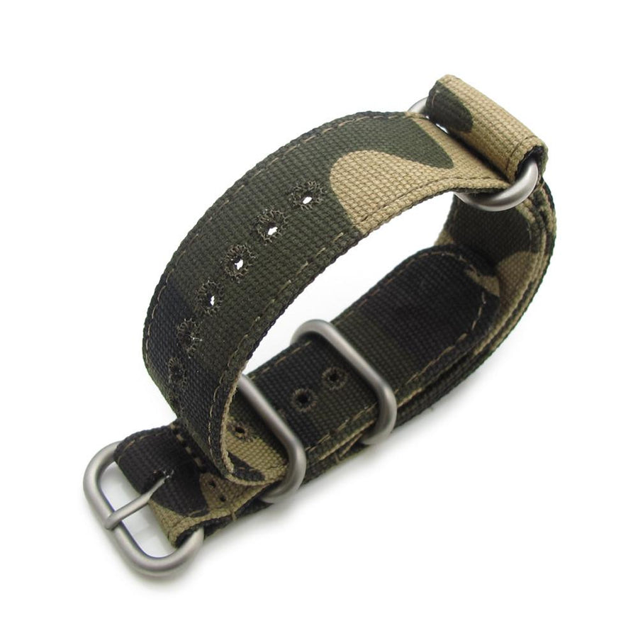 20mm MiLTAT Canvas G10 military watch strap, military color with lockstitch round hole, camouflage pattern