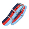 NATO 20mm G10 Military Watch Band Nylon Strap, Blue+Red+Sky Blue, Sandblasted, 260mm