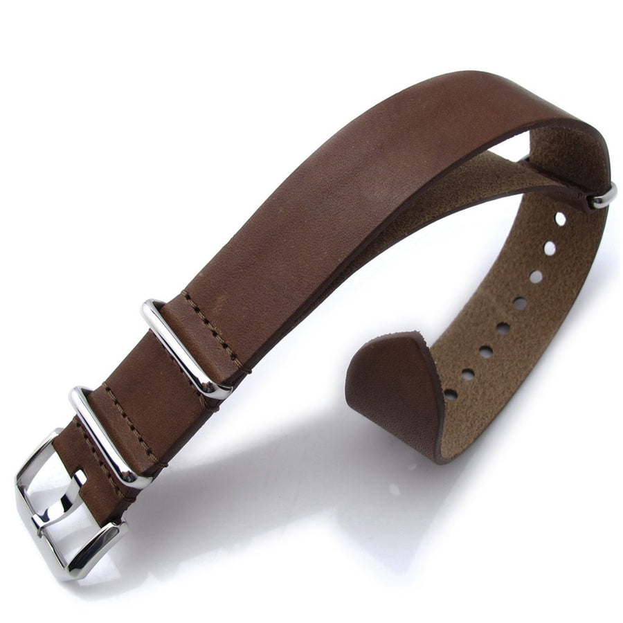 20mm MiLTAT Senno G10 Leather Watch Strap Cordu Brown, Polished