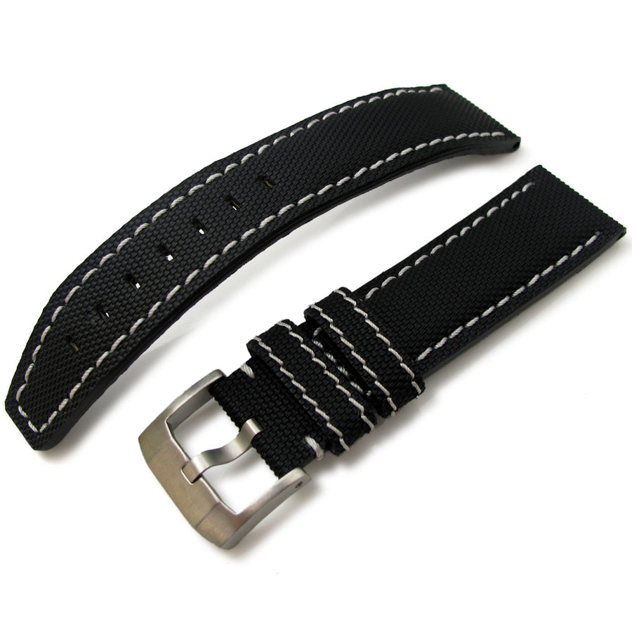 20mm to 23mm MiLTAT Black Kevlar Leather Watch Strap in White Stitches