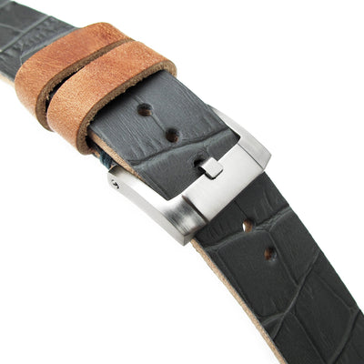20mm MiLTAT Antipode Watch Strap Dark Grey CrocoCalf in Lake Blue Hand Stitches - Strapcode