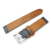 20mm MiLTAT Antipode Watch Strap Dark Grey CrocoCalf in Lake Blue Hand Stitches Strapcode Watch Bands
