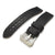 20mm, 22mm MiLTAT Pull Up Leather Black Watch Strap, Navy Hand Stitches