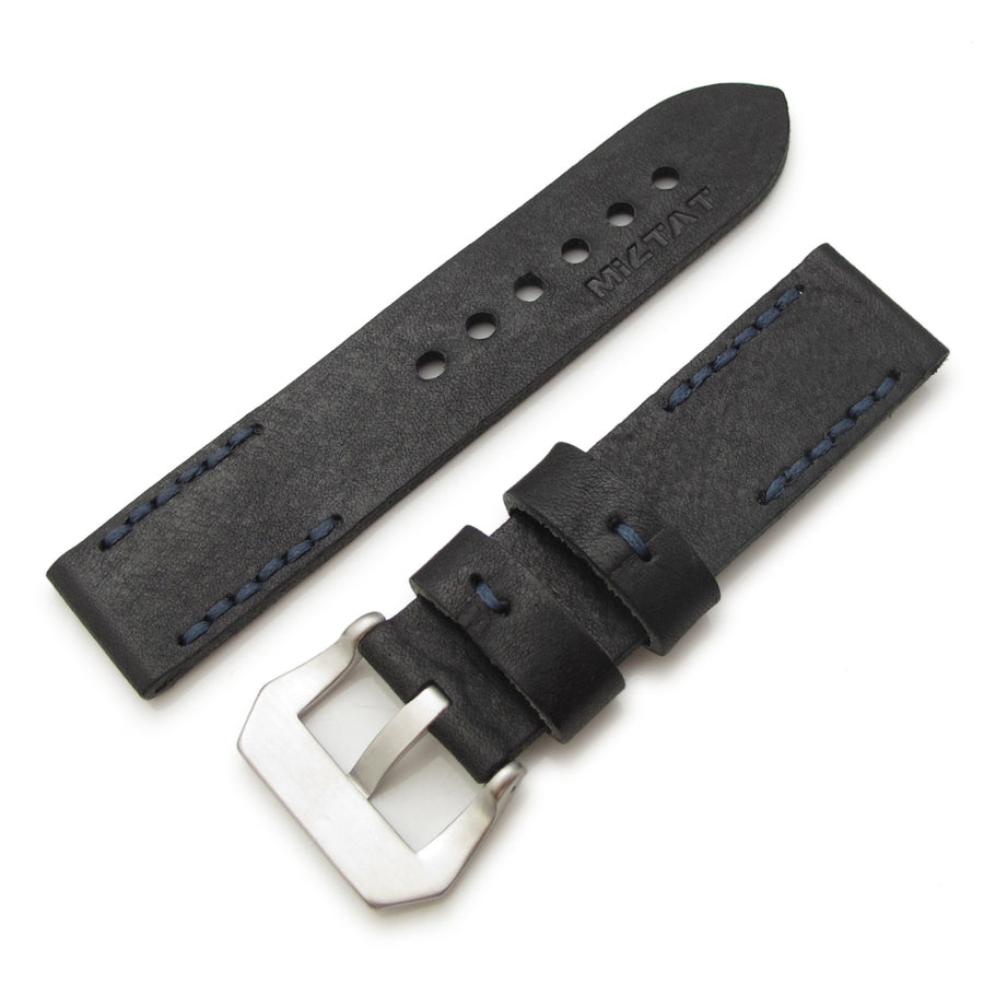 20mm, 22mm MiLTAT Pull Up Leather Black Watch Strap, Navy Hand Stitches - Strapcode