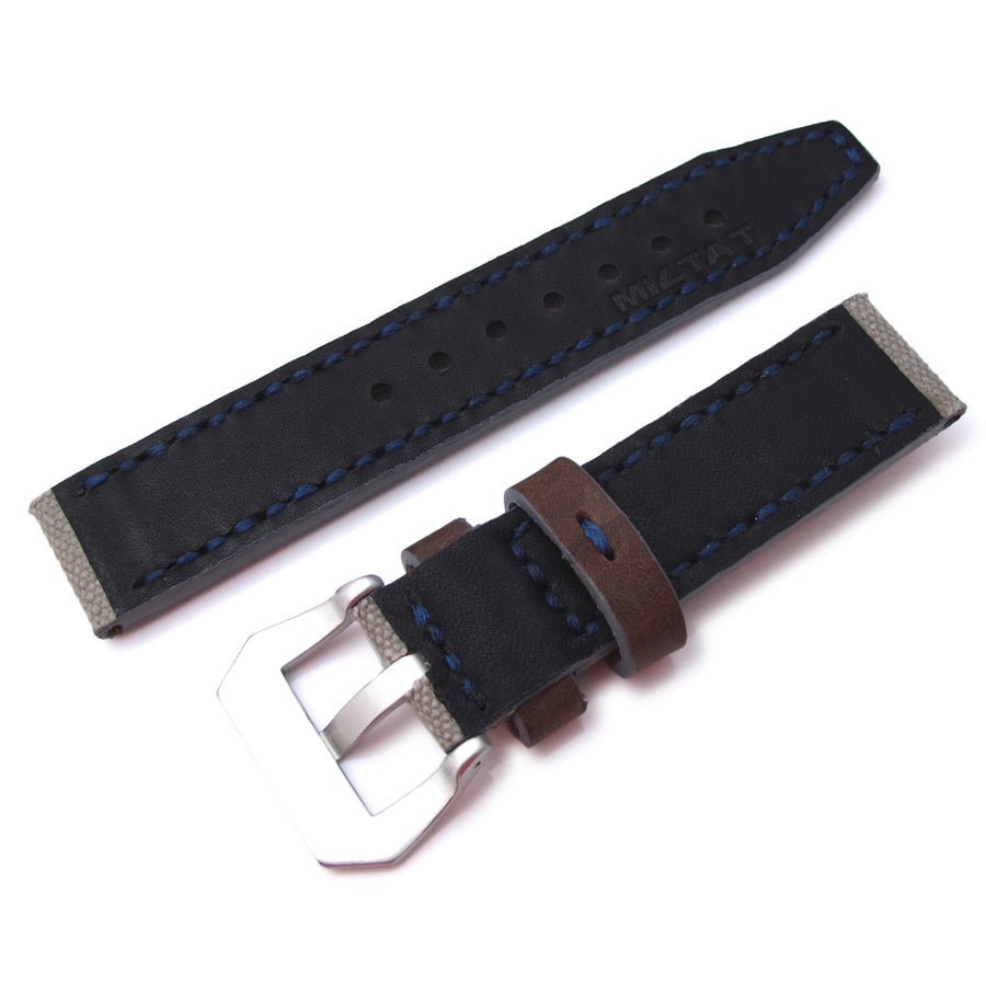 20mm, 22mm MiLTAT Military Grey Leather Washed Canvas Ammo Watch Strap in Blue Stitches - Strapcode
