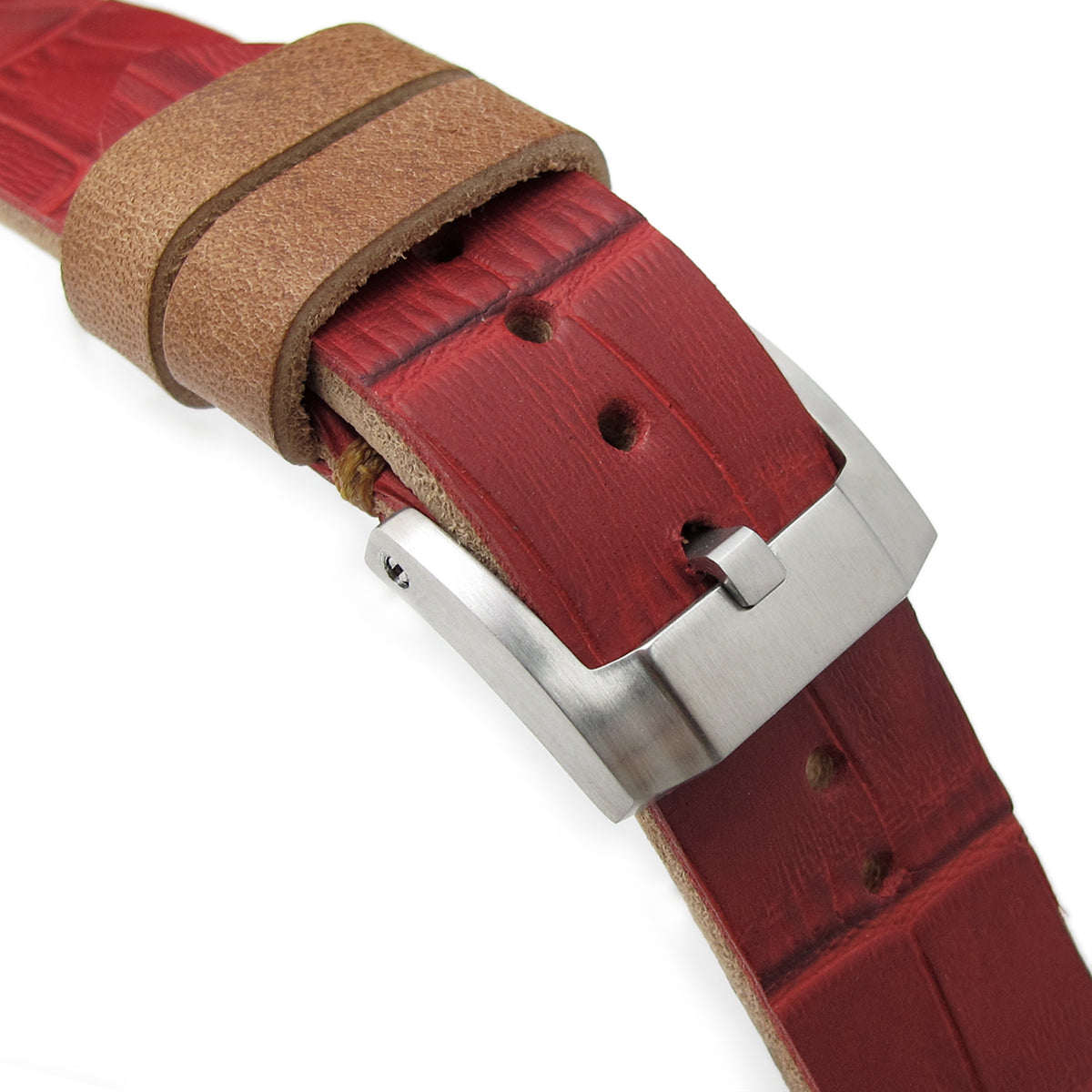 20mm MiLTAT Antipode Watch Strap Matte Red CrocoCalf in Tan Hand Stitches Strapcode Watch Bands