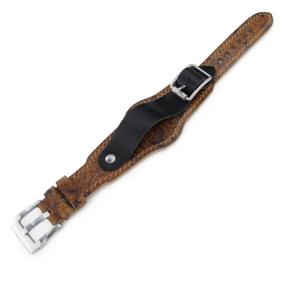 20mm Hezzo Bund Military Style Double-layer Watch Strap, Heavy Scratch Brown Leather of Art - Strapcode
