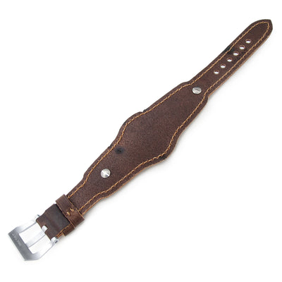 20mm Hezzo Bund Military Style Double-layer Watch Strap, Dark Brown Chesse Holes Brown Leather of Art - Strapcode