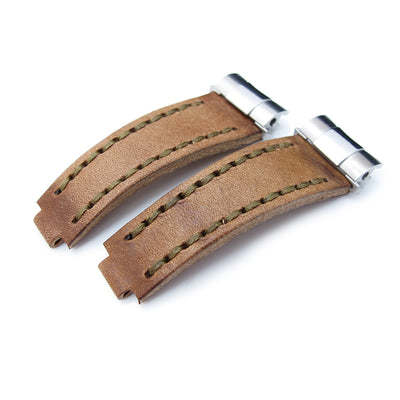 Revenge End Link - Replacement Watch Strap Tailor-made for RX, Matte Brown Pull Up Leather, Military Green St.