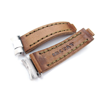Revenge End Link - Replacement Watch Strap Tailor-made for Rolex, Matte Brown Pull Up Leather, Military Green St.